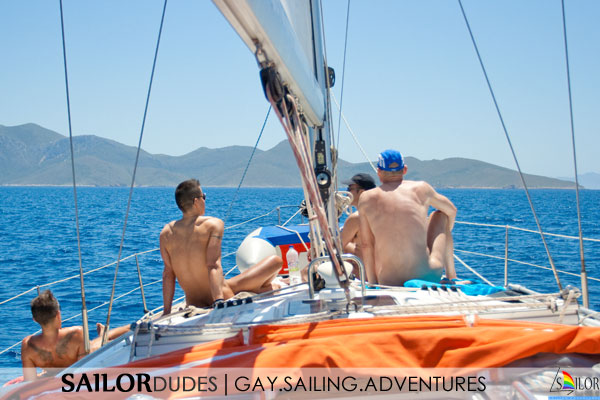Gay naked sailing Greece - relax on deck