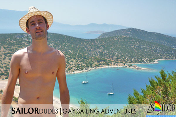 Gay nude sailing Greece Dodecanese Kos - guy on hill