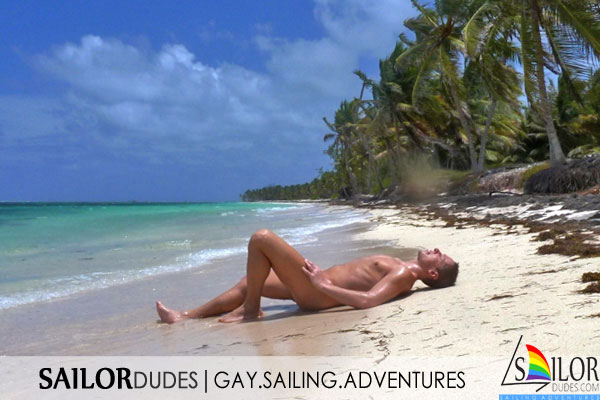Gay sailing naked sailor guy on beach