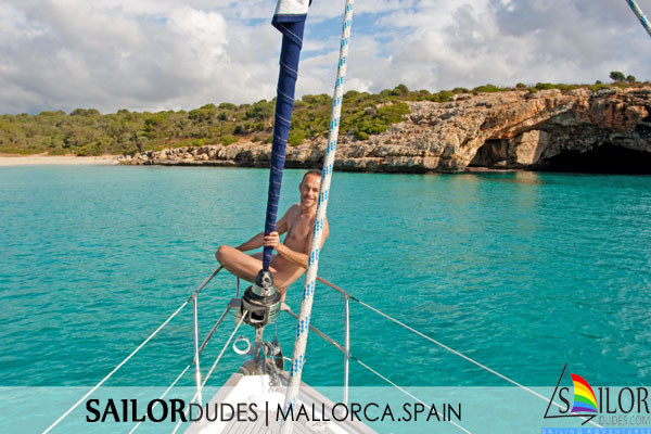 Gay naked guy on sailing yacht bow. Gay naturist sailing. Gay active sailing holidays. Gay nude travelling. Gay nude skipper.