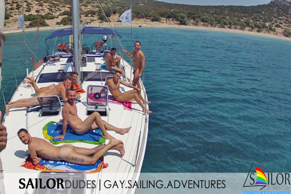 Gay nude sailing on yacht