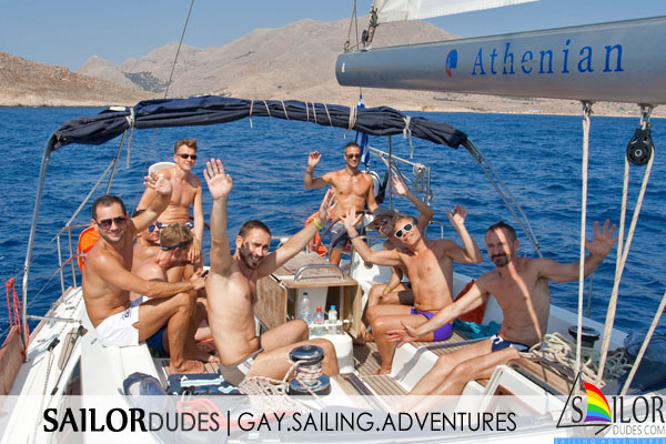 Gay nude sailing cruise Greece Kos - wave from cockpit