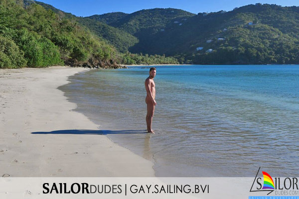 BVI sailor dude on nude beach