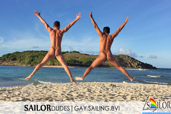 BVI nude jumping on beach