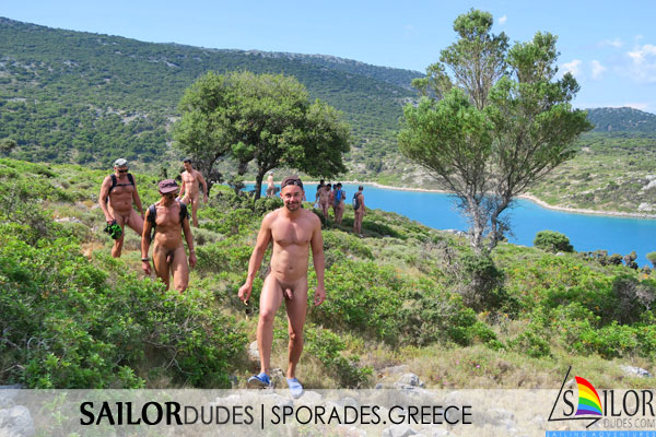 Gay guys making nude hike in sporades island in Greece