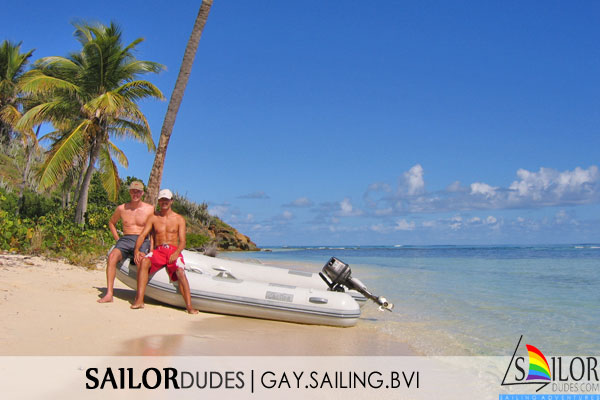 Gay sailing bvi - dinghy on island