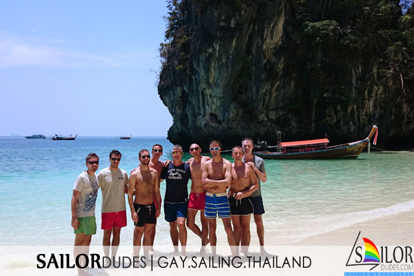 Gay sailing holiday Thailand - group on beach