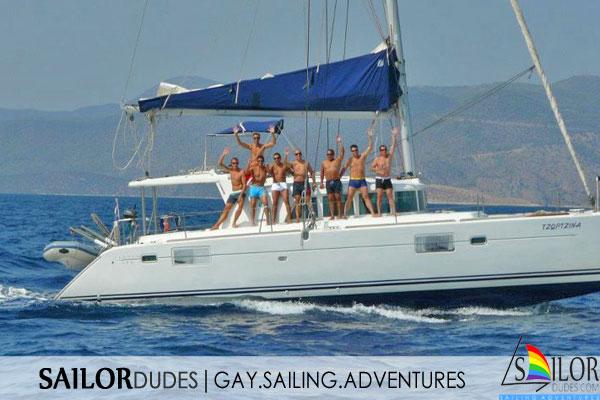 Gay sailing Greece Catamaran