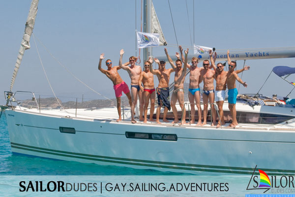 Gay nude sailing cruise Greece - wave from deck