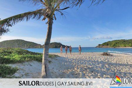BVI naked sailing guys on palm beach