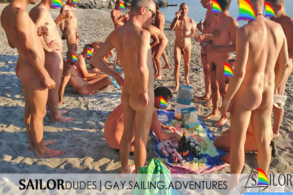 Naked guys party on nude beach in Greece