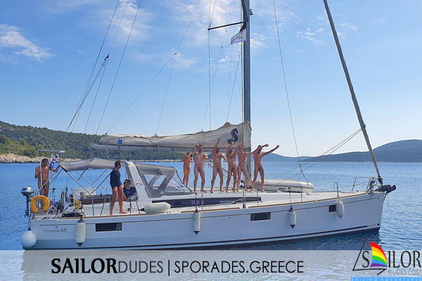 Naked gays dancing on sailing yacht