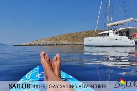Gay sailing catamaran