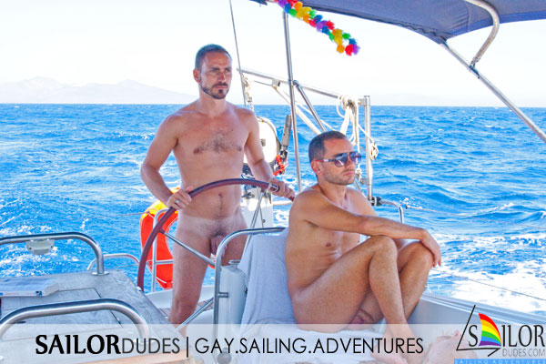 Two guys on gay nude sailing cruise