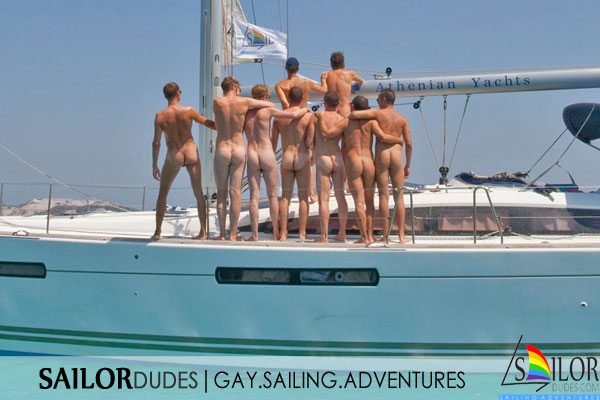 Gay guys showing nude ass on sailing boat