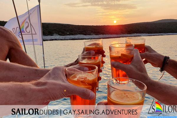 Sailing sundowner aperol spritz