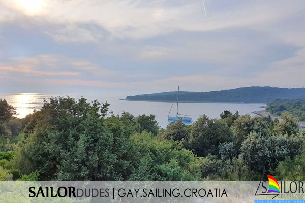 Sailing yacht in Silba bay Croatia