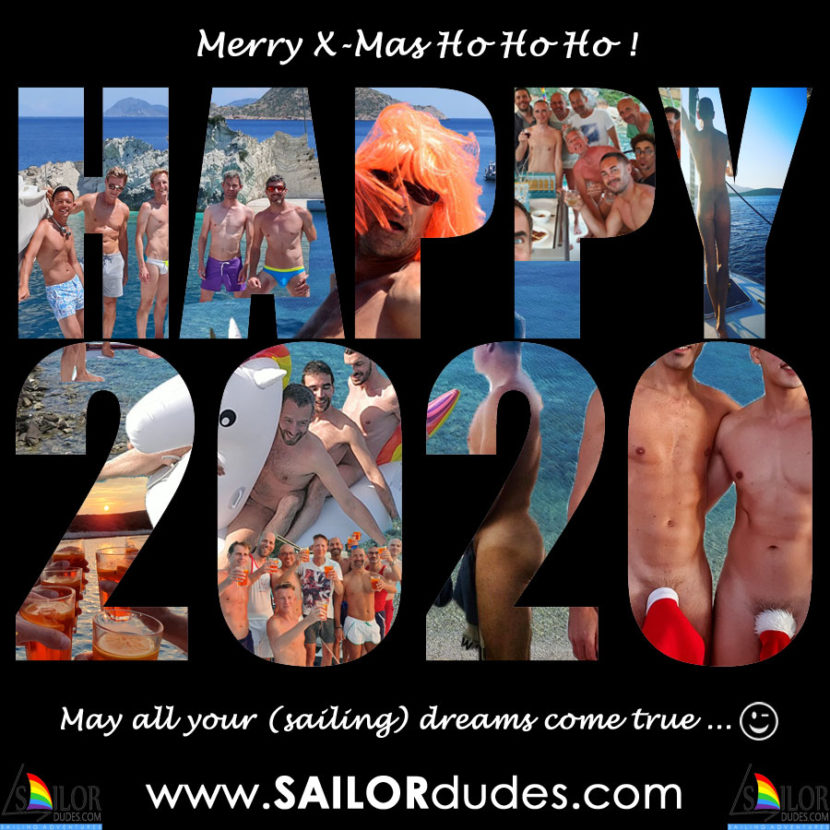 Happy new year 2020 with nude sailor models